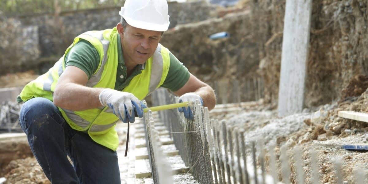 Contractor Installing Rebar