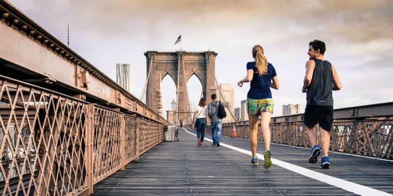 Runners Exercising Brooklyn Bridge