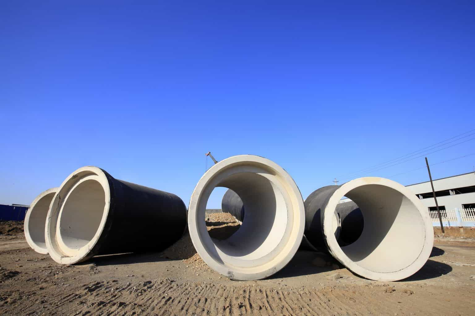Sewer Pipes at Construction Site