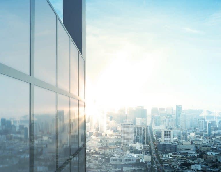 Skyscraper Overlooking City